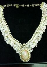 Michal Negrin Lace & Crystals Cameo Necklace *Rare*