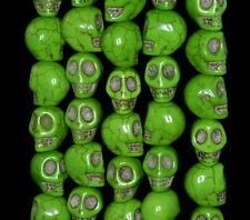 """13X10MM GREEN TURQUOISE GEMSTONE HOWLITE CARVED SKULL HEAD LOOSE BEADS 16"""""""