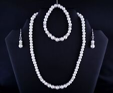 White Glass Pearl Rhinestone Necklace Bracelet Earring Bride Prom Jewellery Set