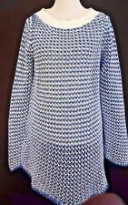 SOFT SURROUNDINGS BLUE & WHITE KNITTED OPEN WEAVE LONG SLEEVES SWEATER SIZE M