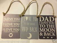 Shabby Chic Hanging Mini Metal Dad or I Love you to the Moon And Back Plaque