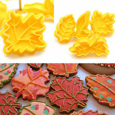 4PCS Maple Leaf Plunger Cookie Cutter Biscuit Fondant Cake Mold Baking Tool