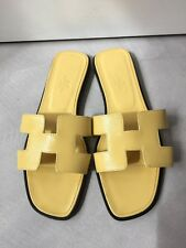 NIB Authentic NEW SPRING Hermes YELLOW Oran H Sandals Slippers 38/8