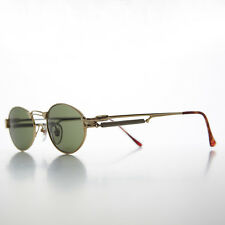 Gothic Steampunk Victorian Oval Vintage Sunglasses Gold/Green NOS- MAXWELL