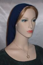 Head Covering Headcovering Navy Poly Snood Tichel Head Wrap Hair Covering Jewish