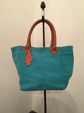 """Roots Canada Leather Small Tote Teal Suede 8""""h x 7""""l"""