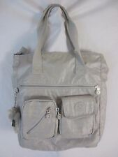 Kipling Joslyn Gray Silver Shoulder Tote Shopper Handbag Purse Furry Monkey BP5