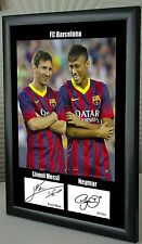 "Lionel Messi & Neymar Barcelona Framed Canvas Tribute Signed ""Great Gift"""