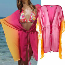 MARKE! Chiffon Strand TUNIKA PINK ORANGE transparent Gr.36/38/40 S/M/L TOP