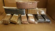 amish country primitive homespun fabric rag strips red blue gold gingham 3 pks