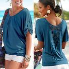 Sexy Damen Sommer Freizeit Spitze Hollow Bluse Tunika Tops T-Shirt Oberteil Hemd