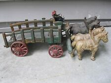 "VINTAGE CAST IRON TEAM OF HORSES WITH WAGON DRIVER 14"" LONG w/4 HORSES"