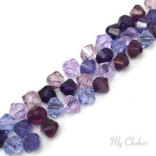 50 pcs Swarovski 5328 / 5301 4mm Crystal Xilion Bicone Beads PURPLE Colors Mix