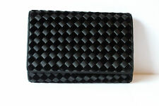 Cute Woven Black Velvet Envelope Hard Shell Clutch Purse Handbag