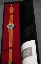 VINTAGE DISNEY LORUS MICKEY MOUSE SIXTY YEARS QUARTZ LADIES WATCH BROWN LEATHER