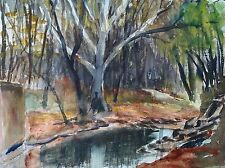 Vintage Bucks County PA Watercolor Painting Landscape Signed R. Palmer 1980