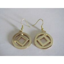 Narcotics Anonymous NA Service Logo Hoop Earrings Gold Plated 12 Step Recovery