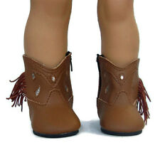 Brown Cowboy Boots with Fringe for 18 inch American Girl Doll Clothes Shoes