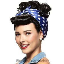 W370 Rosie Riveter Black Wig Lucy Housewife 40s Bandana Curly Costume Accessory