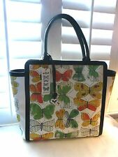 BRIGHTON NWT VERA COLLECTION LG. COATED CANVAS/LEATHER BUTTERFLY TOTE/PURSE