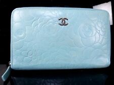 100% Auth CHANEL Popular Lamb Leather Camellia Long Wallet Blue Coco M627