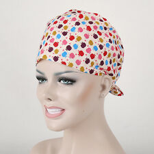Women's Nurses Chef Skull Cap Apples Printing Scrub Medical Surgical Hat/Cap