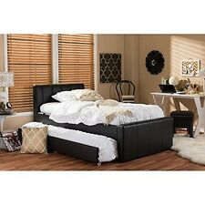 Cosmo Modern And Contemporary Black Faux Leather Twin Size Trundle Bed