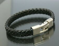 Men Women's Unisex Leather Bracelet Brass Clasp Black SAME DAY SHIPPING!!!