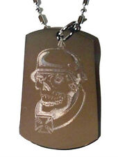 Soldier Skull Iron Cross Helmet Biker Dog Tag Metal Chain Necklace Jewelry New