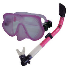 USED Scuba Frameless Dive Mask Dry Snorkel Gear Set Snorkeling Spearfishing PINK