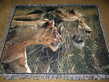 Beauty & The Beast ~ Lion & Lioness Tapestry Afghan Throw ~ Artist, Alan Hunt