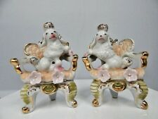 Vintage Hollywood Regency Fancy Poodle Figurines China Japan Gold Trim Retro Set