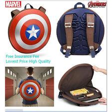 """Hot 15"""" Mens Boys Captain America Shield Shoulder Backpack Marvel Super Hero Bag"""