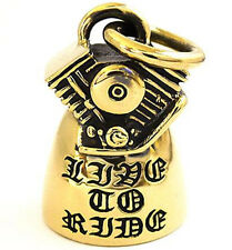 BIG BIKER RIDE BELL MOTORCYCLE ENGINE GOLD BRASS MENS HUGE PENDANT