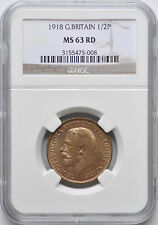 1918 1/2P Great Britain Half Penny Pence Red NGC Graded MS63 RD Uncirculated BU