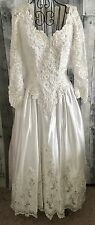 Satin Beaded Sequin Lace Wedding Bridal Gown Dress White Full Skirt Size 12