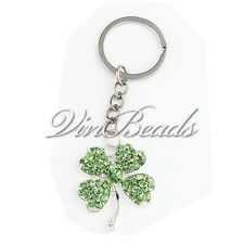 New Green Clover Rhinestone Pendant Alloy Key Chain Ring for St. Patrick's Day