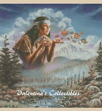 Cross Stitch NATIVE AMERICAN INDIAN GIRL Blowing Leaves - COMPLETE KIT #23vc-277