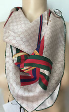 "NWT GUCCI SCARF GG GREEN RED BEIGE YELLOW 100% SILK SQUARE 26.5"" X 26.5"""