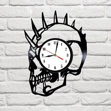 Skull design vinyl record wall clock home shop office bedroom