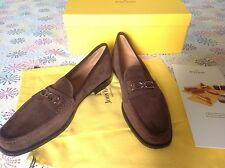 New Box John Lobb Shoes Signature Loafer UK 11.5 US 12.5 Dark Brown Suede Italy