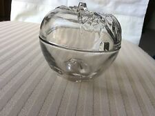 Vintage Covered Glass Apple Butter Bowl With Space For Spoon