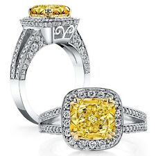 2.45 ct. Cushion Cut Fancy Yellow to Fancy Intense Halo Diamond Engagement Ring