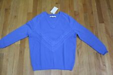 O'2ND LIGHT BLUE WOOL CASH CABLE SWEATER SIZE MEDIUM NEW WITH TAGS