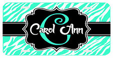 Personalized Monogrammed License Plate Auto Car Tag Zebra Initial Name Mint