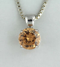 Champagne Ice CZ Solitaire Pendant Necklace 925 Sterling Silver
