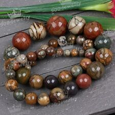 """1 Strand 6--8mm Round Tower Picasso Jasper Gemstone Loose Beads 18"""" Findings DIY"""