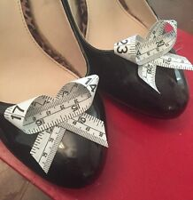 Black Shoe Clips 4 Shoes Tape Measure Bows Party Pinup Retro Different White