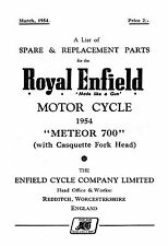 1954 Royal Enfield Meteor 700 (with casquette fork head) parts book