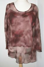 BNWT SIZE 22 MAUVE MIX SHEER TUNIC WITH CAMISOLE & ASYMETRIC HEM 2598